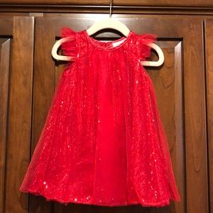 Crown & ivy baby red sequins dress guc 18 m girls